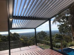 View of Mount Osmond hills with Louvretec Super Roof providing shade