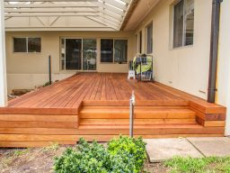 Timber deck under timber gable roof