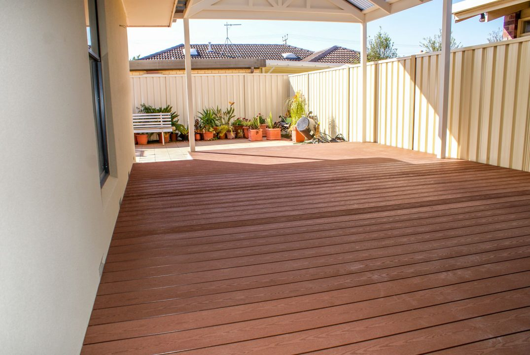 Composite decking under verandah