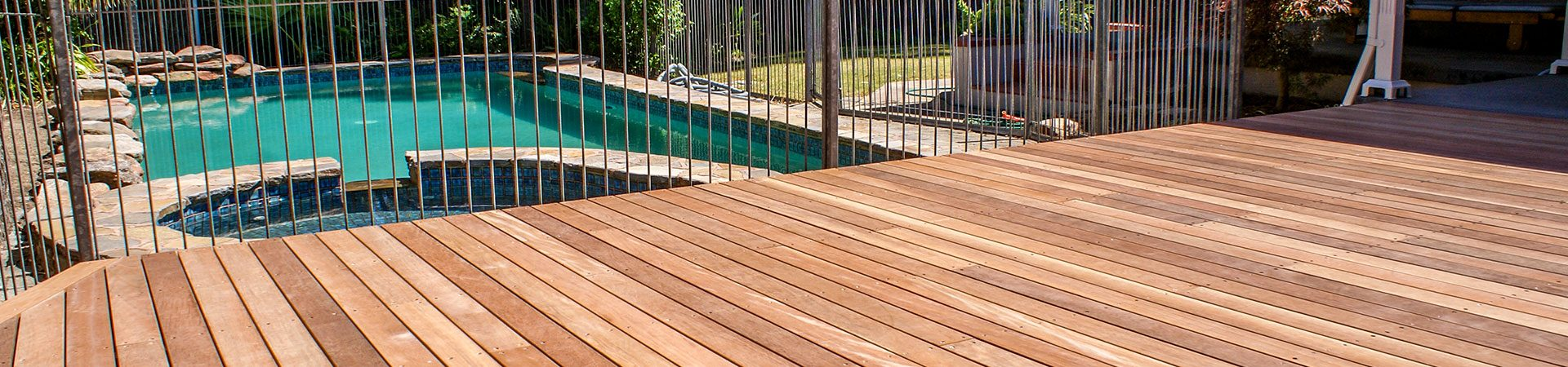Timber decking overlooking pool in adelaide