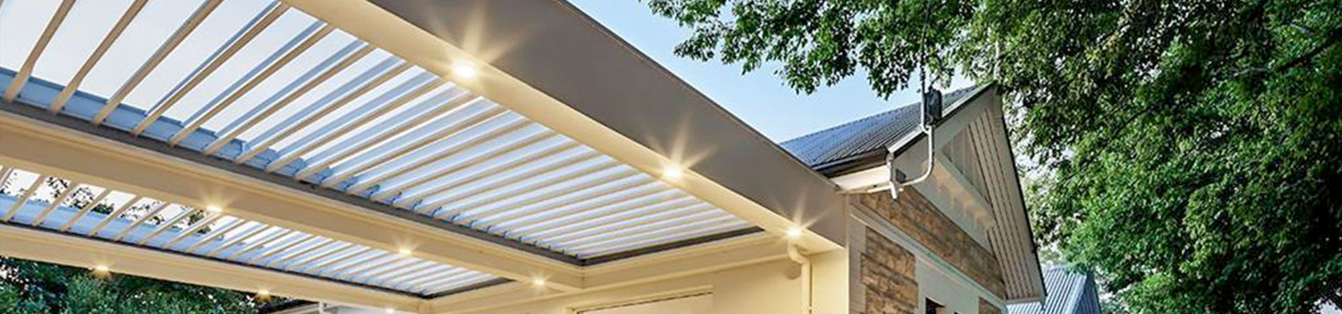 Louvre Roof Pergola with outdoor lighting adelaide
