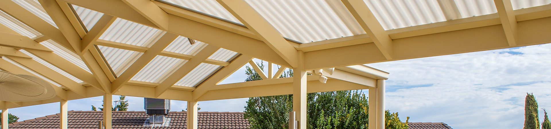 Timber pergola with suntuf roof Adelaide