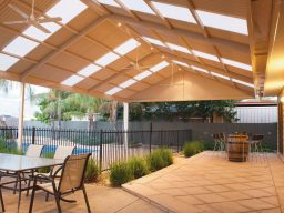 Steel gable verandah with fans and lighting