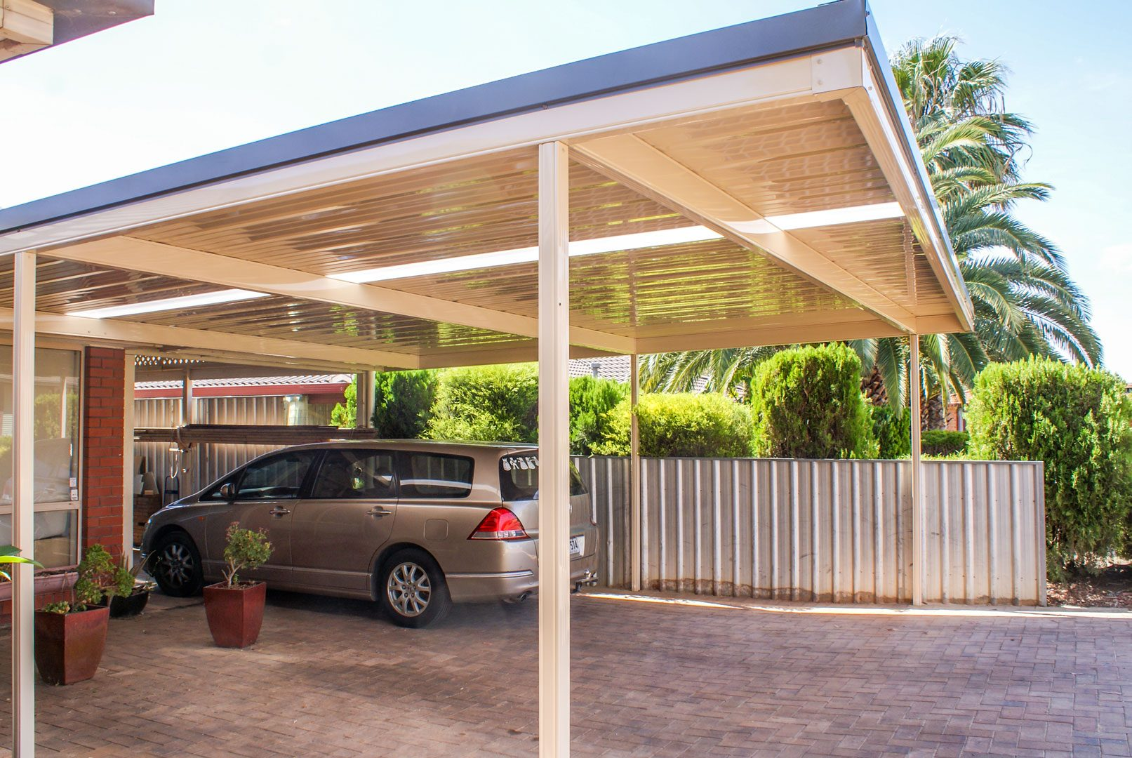 Flat roof steel carport Adelaide