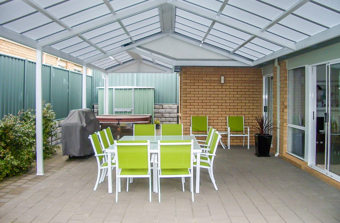 Outdoor verandah with suntuf polycarbonate roofing