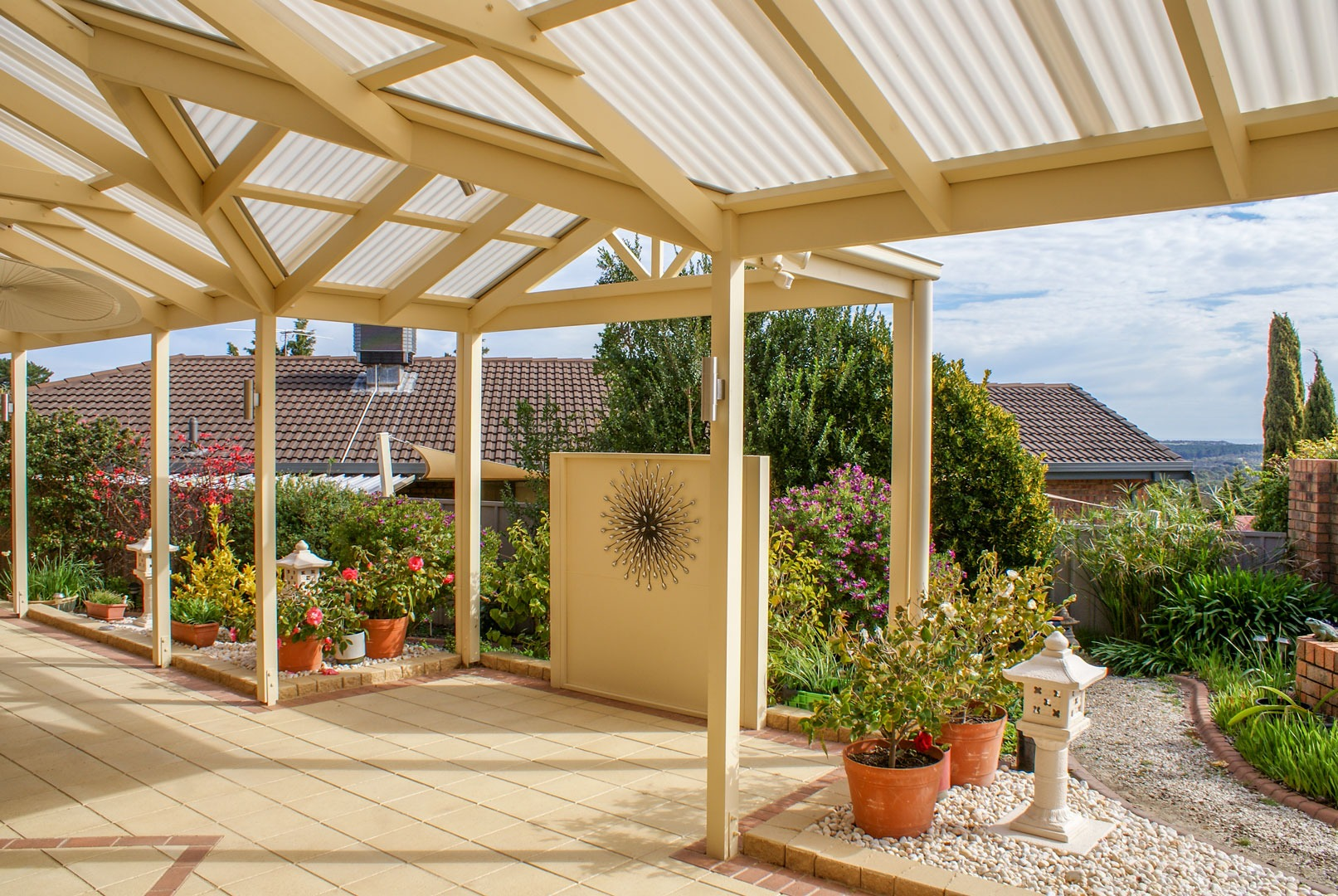 Timber pergola with Suntuf roof in South Australia